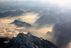 Swiss Alps. Aerial View of the Swiss Alps Royalty Free Stock Image