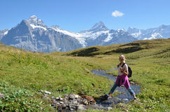 Swiss Alps. Trekking in the Swiss Alps Royalty Free Stock Photo