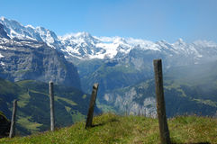 Swiss Alps. Lauterbrunnen valley in the Swiss Bernese Oberland with the snowcapped peaks of the Alps in the background Stock Images