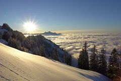 Swiss Alps_8. Where the air is so pure, the sky so clear, all around so quiet, the senses so enchanted Stock Photo