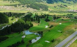 Swiss alps: Airshot from Samedan golfcourse in the upper Engadin stock images