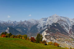 Swiss Alps In Autumn. View of Swiss Alps on a sunny day in autumn. Picture take in Nendaz, Canton Vaud, Switzerland Royalty Free Stock Images