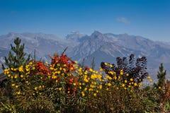 Swiss Alps In Autumn. View of Swiss Alps at Nendaz, Vaud, Switzerland Royalty Free Stock Photo