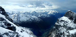 Swiss Alps. Beautiful Scenery of the Switzerland Alps Covered in Snow royalty free stock images