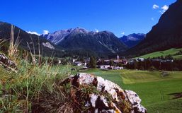 Swiss Alps: Bever mountain landscape in canton. `Graubünden` in the swiss alps stock photography