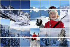Swiss Alps collage. Winter pictures of the swiss Alps Royalty Free Stock Photos