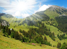 Swiss Alps-Europe. View of the Swiss Alps to the sun Royalty Free Stock Photography