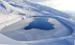 Swiss alps: Frozen lake with water for snowfarming and feeding t royalty free stock photo