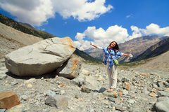 Swiss Alps Glacier Nature Trail and Teenager Stock Photography