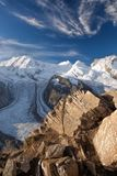 Swiss Alps with glaciers against blue sky, Zermatt area, Switzerland. Swiss Alps with glaciers against blue sky, famous Zermatt area, Switzerland stock images