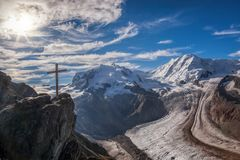 Swiss Alps with glaciers against blue sky, Zermatt area, Switzerland. Swiss Alps with glaciers against blue sky, famous Zermatt area, Switzerland royalty free stock photography