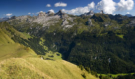 Swiss Alps - Green valley - panoramic view. Green valley in Swiss Alps stock image