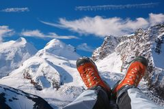 Swiss Alps with hiking boots in Zermatt area, Switzerland. Swiss Alps with hiking boots in famous Zermatt area, Switzerland stock images