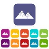 Swiss alps icons set Stock Image
