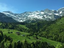 Swiss Alps Landscape. Landscape with Eiger, Moench and part of Jungfrau, in the Swiss Alps Stock Photos