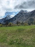Swiss Alps landscape. Mountains view in Switzerland stock photo