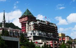 Swiss Alps: The legendary Badrutt palace hotel in St. Moritz. Is a hot spot for the high society royalty free stock images