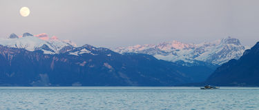 Swiss alps and Leman lake. Panoramic view of the Swiss alps and the Leman lake Stock Photography