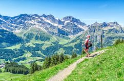 Swiss Alps. Man with walking sticks on the footpaths in the Alps Royalty Free Stock Photos