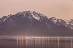 Swiss Alps from Montreux Royalty Free Stock Photography