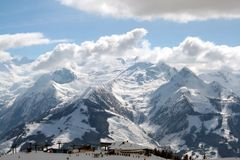 Swiss Alps mountain ski station Stock Image