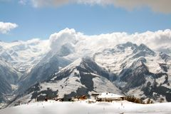 Swiss Alps mountain skiers Stock Photos