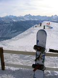Swiss Alps Mountains. A general view of some skiers on the top of the mountain at the ski resort of Crans Montana in the Swiss Alps in Valais in Switzerland stock photos