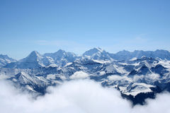 The Swiss Alps. The mountains the Eiger, Monch and Jungfrau in the Swiss Alps stock images