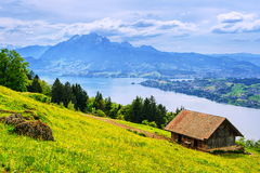 Swiss Alps mountains view. Lucerne Lake and Pilatus mountain panoramic view, Swiss Alps royalty free stock photos
