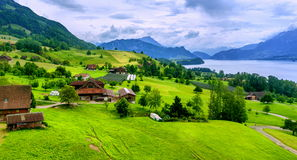 Swiss Alps mountains view. Lucerne Lake and Pilatus mountain panoramic view, Swiss Alps stock image
