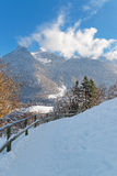 Swiss Alps near the town of Gruyere on a sunny winter day Stock Image