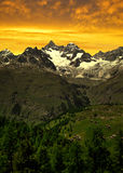 Swiss Alps. Ober Gabelhorn in the sunset - Swiss Alps royalty free stock images