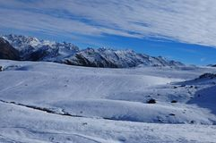 Swiss alps: Panoramic view of Parsenn peak snow mountains above Davos stock photos