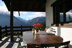 Swiss Alps Patio view Stock Photos