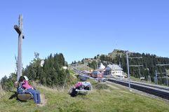 Swiss alps: People enjoying the sun on Rigi Kulm stock photos