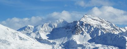 Swiss alps quatre vallées. Swiss mountain view from thyon 2000 Royalty Free Stock Image
