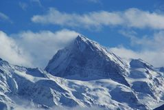 Swiss alps quatre vallées. Swiss mountain view from thyon 2000 Royalty Free Stock Images