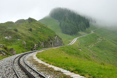 Swiss alps railroad Stock Photo