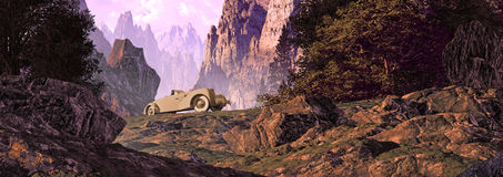 Swiss Alps Road Trip. A road trip in a 1936 classic Cord automobile in the Swiss alps stock illustration