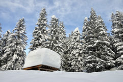 Swiss alps roof. After heavy snow Stock Photo