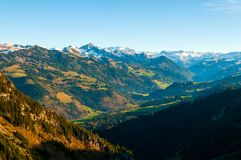 Swiss Alps seen from Boltigen mountain area, Switzerland stock photo