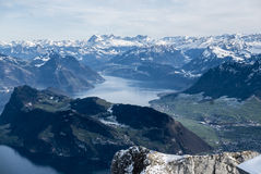 Swiss Alps seen from Mount Pilatus Royalty Free Stock Image