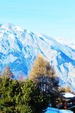 Swiss Alps and small shed Royalty Free Stock Photos