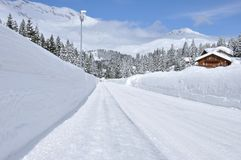 Swiss alps snow wall 2 Stock Image