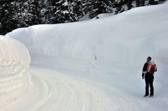 Swiss alps snow wall. Swiss alps, very high wall of snow Stock Photo