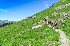 Swiss alps in the summer season. Trekking in the mountainous Alp Stock Image