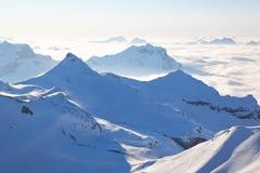 Swiss Alps, Switzerland, Europe. View from the Schilthorn (Piz Gloria), valley of Lauterbrunnen, Bernese Alps, Switzerland, Europe Royalty Free Stock Images