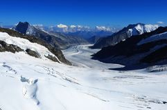 Swiss Alps: viewing Europe`s biggest Aletsch-Glacier royalty free stock images