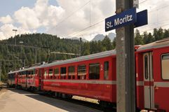 The Unesco World Heritage train trips starts in Chur and ends in St. Moritz royalty free stock photography
