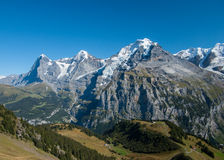 Swiss Alps. View of the Swiss alpine region near Lauterbrunnen royalty free stock images
